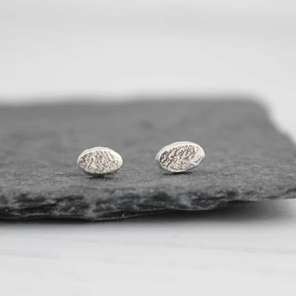 Handmade Sterling Silver Mini Oval Studs By lucy kemp jewellery
