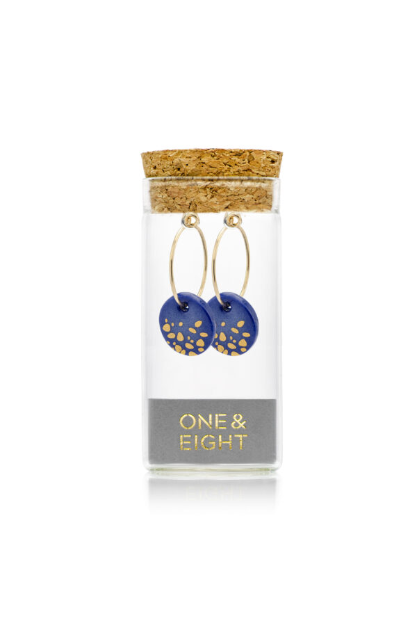 Porcelain blue haze gold earring by one and eight jewellery