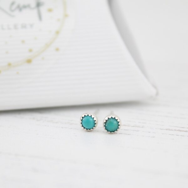Handmade Sterling Silver Turquoise Mini Studs By Lucy Kemp Jewellery
