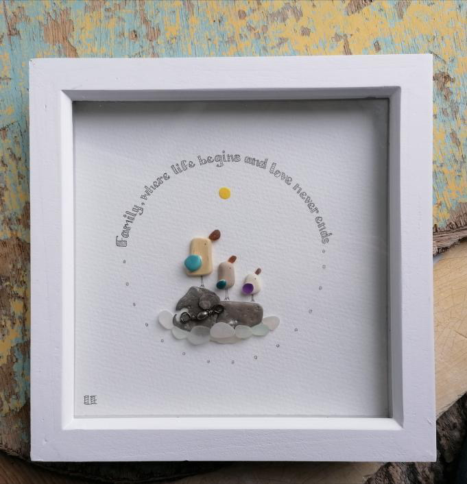 Family sea birds art frame by serendipity sea crafts