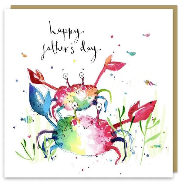 Crabs fathers day card by louise mulgrew