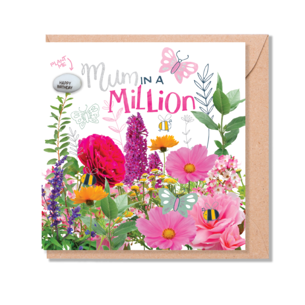 Mum in a million plantable card by lucy & lolly