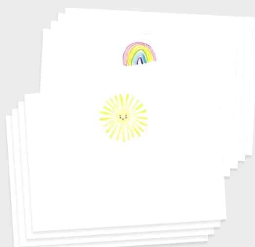 Rainbow and sun notecards by louise mulgrew