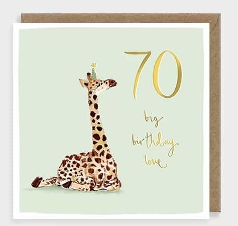 Giraffe 70 card by Louise Mulgrew