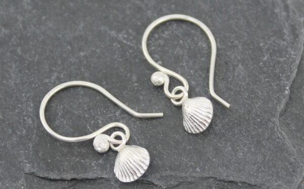 Handmade Sterling Silver Cornish Shell Earrings by Lucy Kemp Jewellery