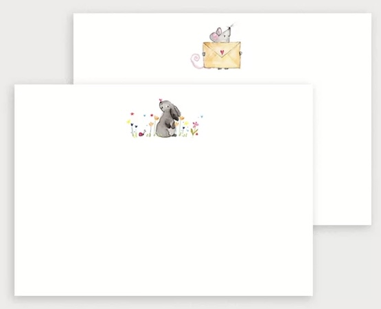 Mouse and bunny notecard set by louise mulgrew