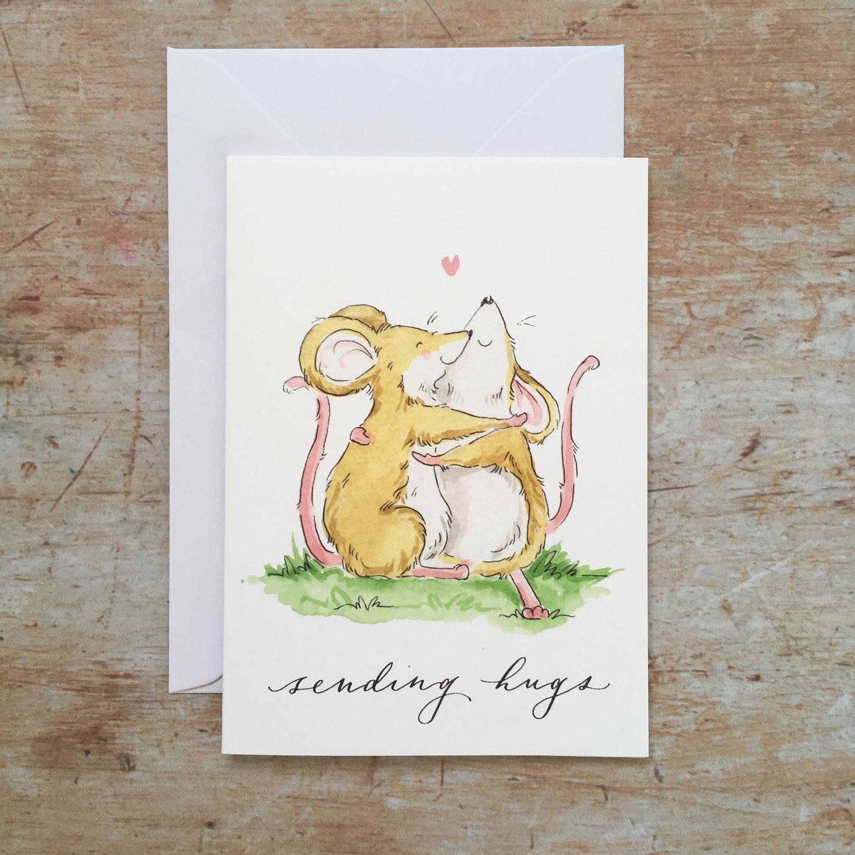 Sending hugs card by ellie hooi illustration