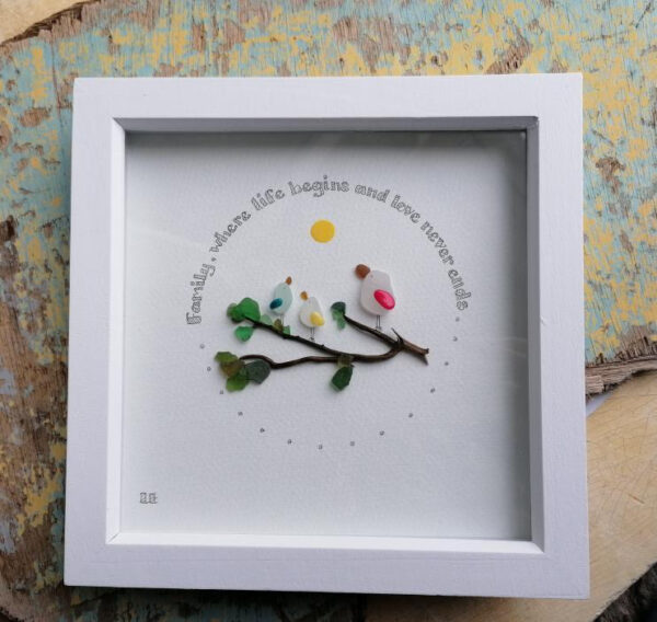 Family 6 x 6 art frame by serendipity sea glass