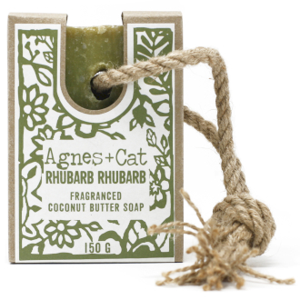 Rhubarb coconut butter soap on a rope by agnes + cat