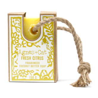 Fresh citrus soap on rope by agnes + cat