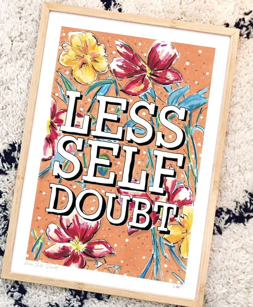 Less self doubt print by gemma pang illustration