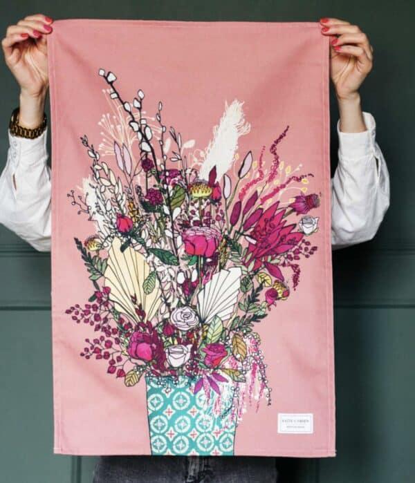 Pink blooms tea towel by katie cardew