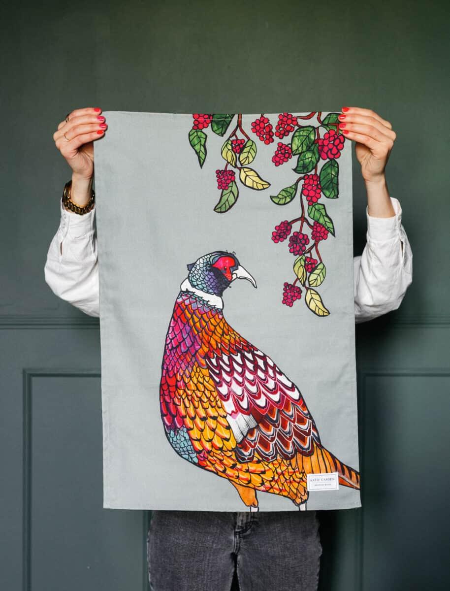 Pheasant tea towel by katie cardew