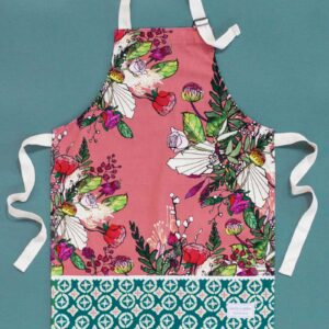 Pink blooms childrens apron by katie cardew