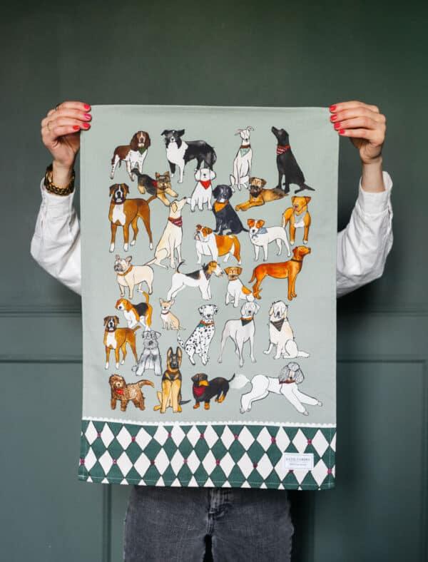 Dogs tea towel by katie cardew