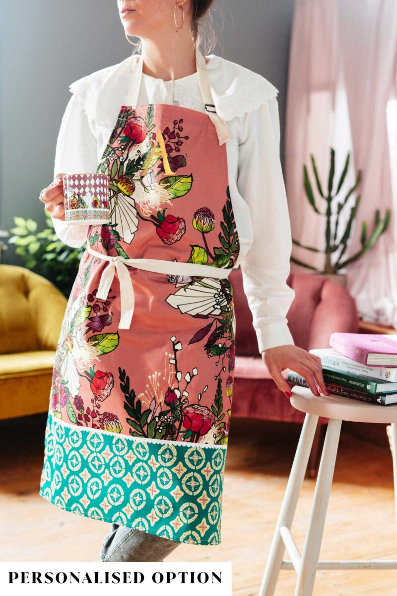 Pink blooms apron by katie cardew
