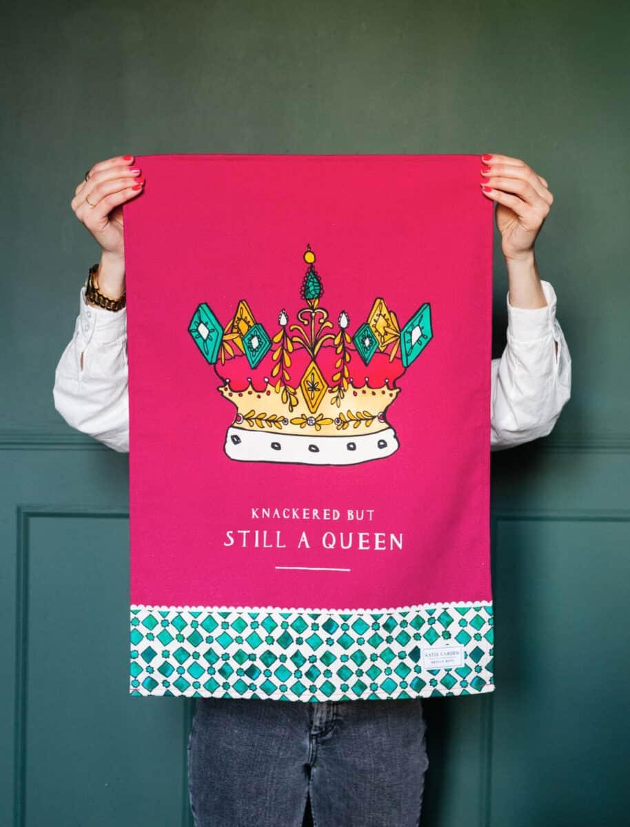 Queen tea towel by katie cardew