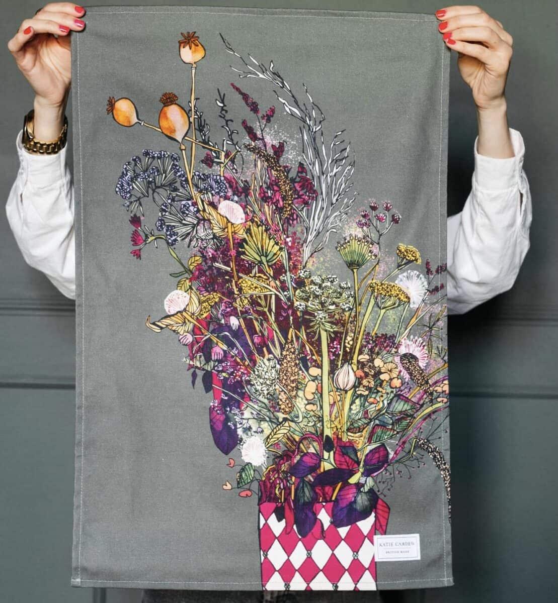 Autumn bloom tea towel by katie cardew