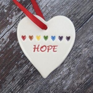 Hope with rainbow pottert heart by broadlands pottery