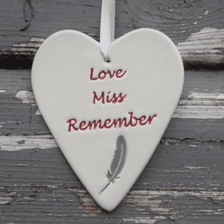 Love miss remember pottery heart by broadlands pottery