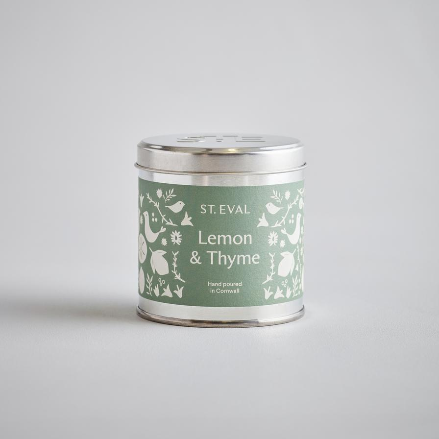 Lemon & thyme tin candle by st eval