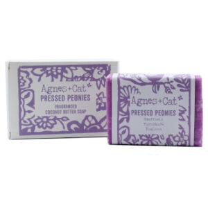 Pressed peonies soap by agnes + cat