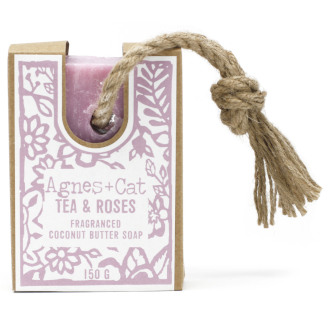 Tea & roses soap on rope by agnes + cat