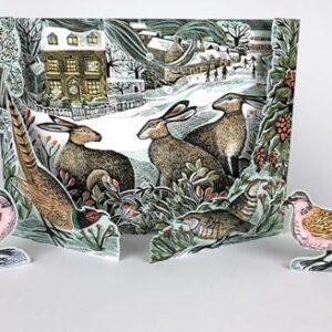 We Three Hares Freestanding advent calendar by Angela Harding