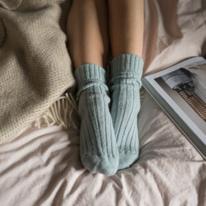 Blue alpaca bed socks by tom lane