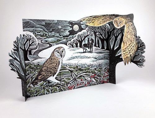 Owl in Winter Advent Calendar Freestanding Advent Calendar by Angela Harding
