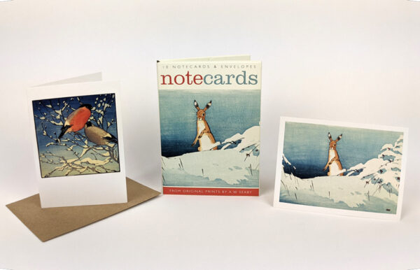 Hare in Snow/Bullfinches From prints by A W Seaby