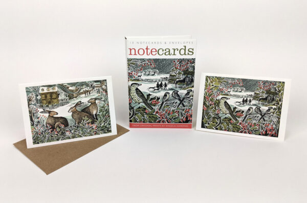 Holly hedge and we three hares notecards by anglea harding