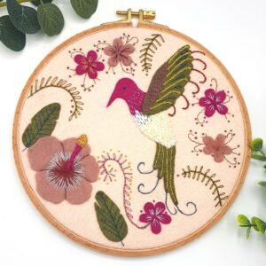 Hummingbird Felt Embroidery Hoop Kit by Corinne Lapierre