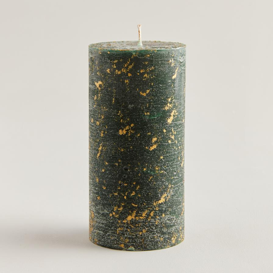 Winter Thyme Scented Gold Marbled Pillar Candle by ST Eval