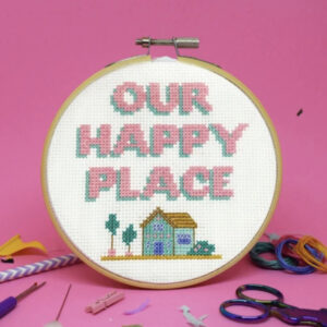 Our Happy Place Cross Stitch Kit by The Make Arcade