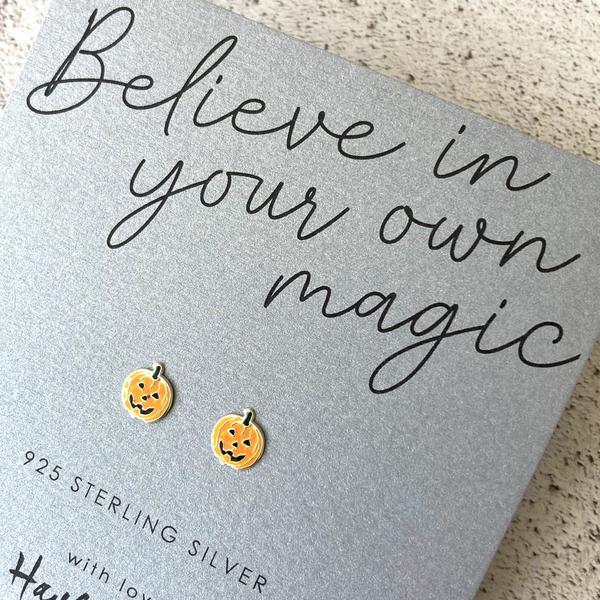 Pumpkin Sterling Silver Earrings by Hayley & Co