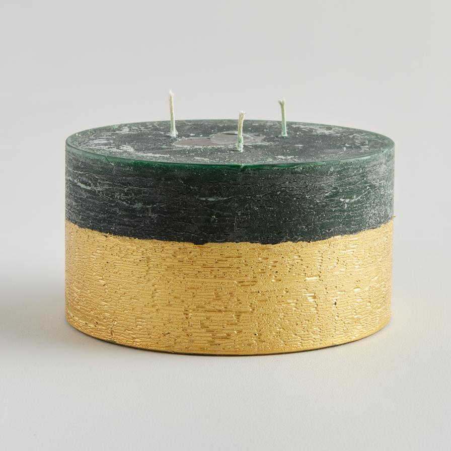 Winter Thyme Scented Gold Half-Dipped Multiwick Candle by ST Eval