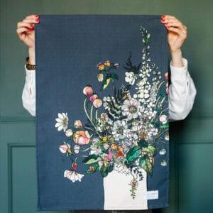 White Blooms Tea Towel by Katie Cardew